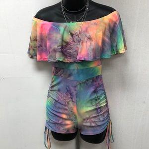 Off shoulder tie dye romper